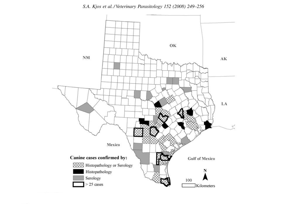 Map of Texas counties symbolized by confirmed cases of canine Chagas disease.