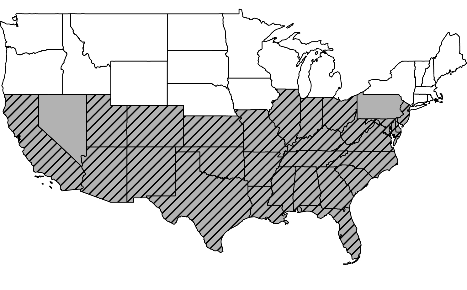 Map of the US historical record of kissing bugs. Mostly present in the mid-southern states.